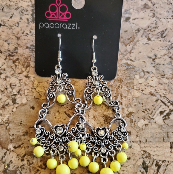 Paparazzi yellow and silver earrings NEW